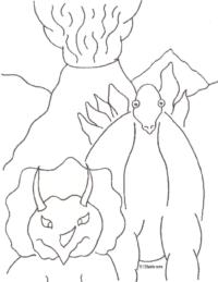 Dinosaur Volcano Coloring Page