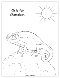 Ch is for Chameleon Coloring Page