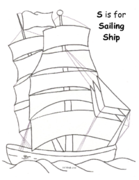 S for Sailing Ship Coloring Page