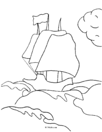 Ship in Stormy Sea Coloring Page