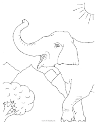 Trumpeting Elephant Coloring Page