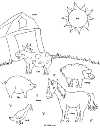 Farm Animals Coloring Picture