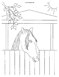 Horse in the Stable Coloring Page