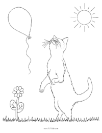 Kitten With Balloon Coloring Sheet