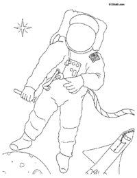 Astronaut in Space Coloring