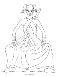 Samurai Girl Coloring Page