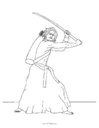 Samurai Swordsman Coloring Page