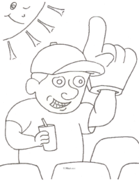 Baseball Fan Coloring Page