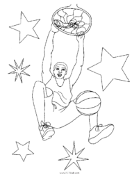 Basketball Dunk #1 Coloring Page