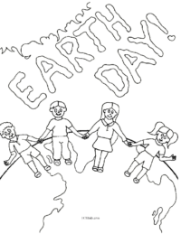 Earth Day Kids Coloring Page