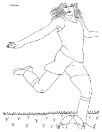 Girl Soccer Player Coloring Page