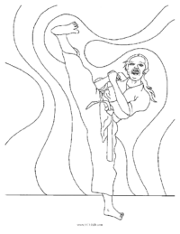 Karate Girl Coloring Page