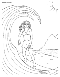 Surfer Girl #2 Coloring Page
