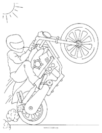 Motorcycle Wheelie Coloring Page