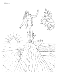 Woman on Beach Log Coloring Page