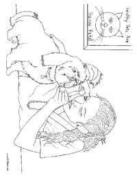 Woman Veteranarian with a Dog Coloring Page