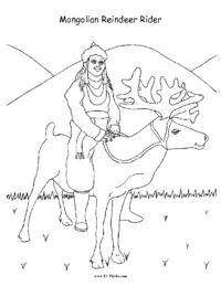 Mongolian Reindeer Rider Coloring Page