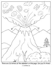 Alphabet Volcano Coloring