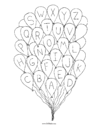 Alphabet Balloons Coloring Page